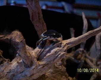 Dark Green Sea Glass sterling ring