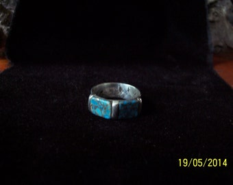 Solid Sterling band ring w / Bronze vein Turquoise.