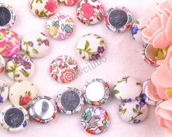 50 pcs Mixed Color Fabric Buttons, Covered Buttons,  Flat Back Buttons