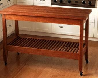 Solid Cherry Kitchen Work Table Island With Storage Shelf