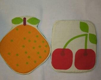 Orange coaster,cherry potholder, fruits coaster, fruits potholder,fruit coaster,fruit potholder, quilted coaster,quilted potholder