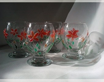 Hand Painted Floral Glasses Set of 4