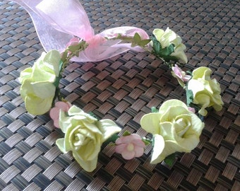 Flower headband for Blythe, lima roses and pink mulberry