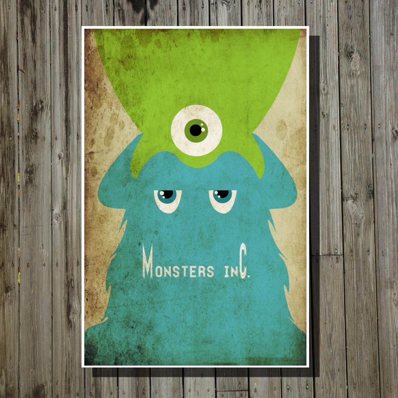 Monsters Inc movie poster Pixar print Disney minimalist poster