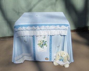 SALE - Card table playhouse, blue with bunny
