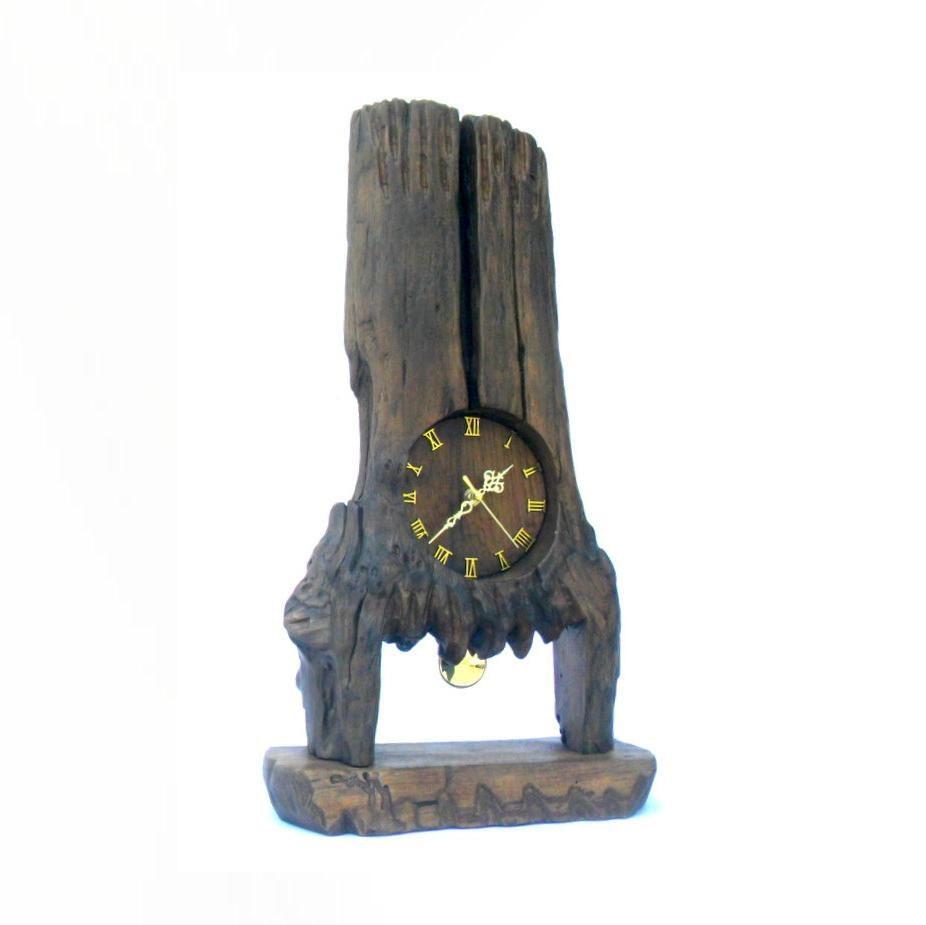 Bois de teck sculpture pendule sculpture rustique bois flott for Statue en bois flotte