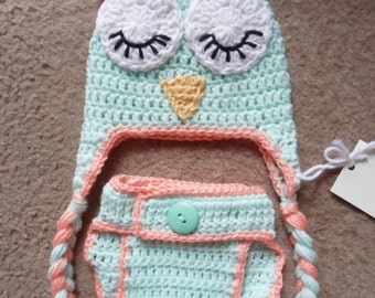 Owl Set..Includes Hat with Adjustable Diaper Cover.  Sizes Newborn, 0-3 Months, 3-6 Months,