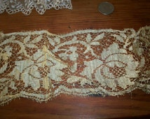 """16""""of a blonde color Antique silk  lace 3 1/2"""" wide beautiful pattern"""