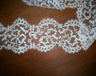 1 yd. of Antique lace by the yard SILK lace french origin 1920 to 1930