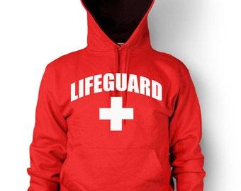 Lifeguard Hoodie Beach Patrol Pool Safety Guard Rescue Team Men's Hooded Sweatshirt
