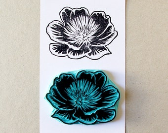 Peony flower rubber stamp, hand carved stamp,scrapbooking supply, floral stamping, flower, peony