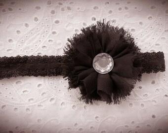 Black Flower Headband, Vintage Black Headband, Baby Headband, Girl Headband, Shabby Chic Black Flower Headband, Black Flower Clip