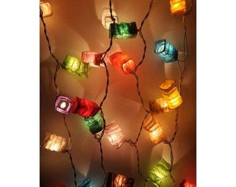 Paper Lantern String Lights Mixed Colur