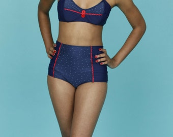 Retro High Waist Sailor Style Swimsuit