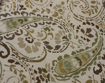 Green Brown Paisley Pattern - Fabric by the Yard 016