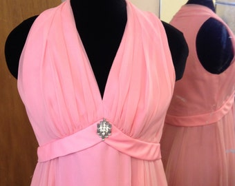 1970s vintage bubblegum pink chiffon evening dress