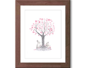 Bunnie Nursery Art - Baby Girl Nursery Art - Woodland Nursery Decor - Pink and Gray Nursery - Watercolor Rabbit Print - R402