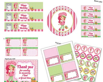 INSTANT DL- strawberry shortcake Party Package - Printable set (NON Personalized)