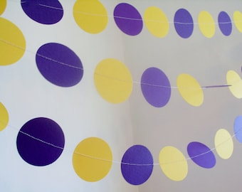 """purple and yellow paper garland 2"""" circle paper garland custom length birthday garland lakers bachlorette lakers colors party decorations"""