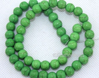 One Full Strand,6mm & 8mm Green Round Turquoise Beads,Green Turquoise Beads,Turquoise Beads,Gemstone Beads--BT035
