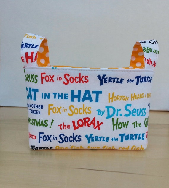 Small Fabric Storage Bin Basket - Dr. Seuss Print with Yellow Dot