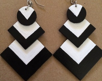 Handpainted black and white wooden earrings