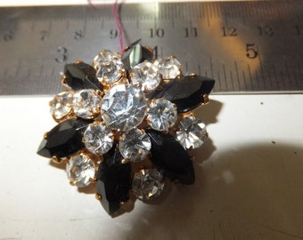 Vintage Black and Clear Rhinestone Brooch, Gold Tone