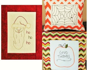 3 Seasonal hand embroidery patterns. Halloween spider web, Thanksgiving pumpkin, and Christmas Santa. All will fit in a 5x7 frame.