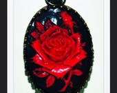 Handcrafted Black & Red Resin Cameo Pendant