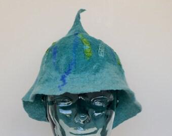 Blue Felt Cloche Hat