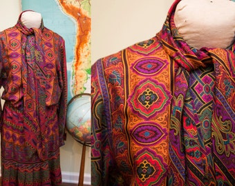 Vintage 70s Oscar de la Renta Psychedelic Pleated Dress // Size L - 10 - 12