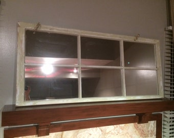 "Distressed ""Barnyard"" large window with mirrors added"
