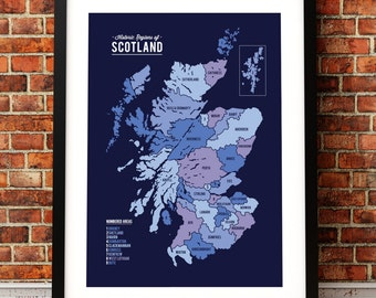 Map of Scotland, Scotland map, Scotland art print, map inspired print, Scotland map print, modern map art, Scotland inspired art.