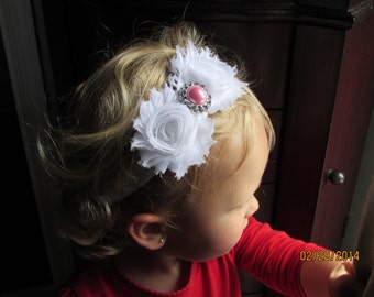 Shabby Chic Adjustable Headband, Shabby Chic Headband, Baby Headband, Infant Headband, Girls Headband, White Headband