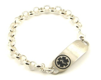 Heavy Rolo Chain Medical ID Bracelet Free Engraving 7 Tag Colors