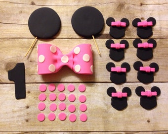 Edible Fondant Minnie Mouse Inspired 8-12 Inch Cake Set Toppers