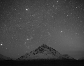 Starry night above Buachaille Etive Mor, Scotland