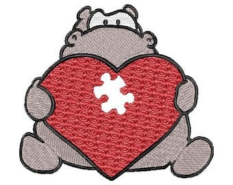 Heart, love, Valentine,  hippo, machine embroidery design