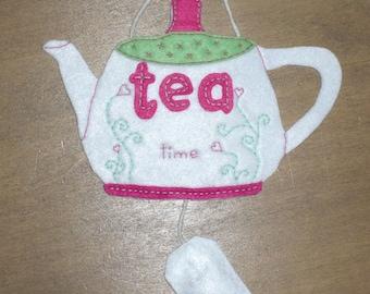 "Felt ""tea time"" plaque  with tea bag filled with lavender"