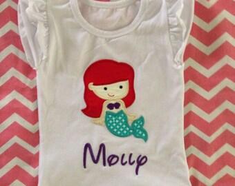 Custom Personalized Little Mermaid Applique Shirt