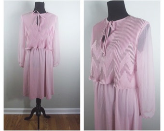 70s Pink Dress Riccardo Accordian Pleat Sheer Sleeve Chevron Keyhole Front Tie Dress (2 sizes available)