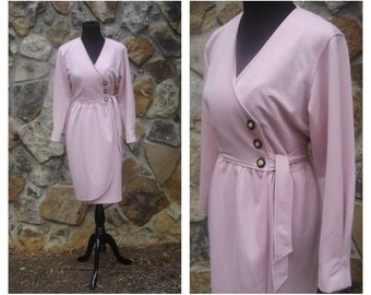 70s Pink Dress Leslie Faye Wrap Front Tie Dress Sz M (10)