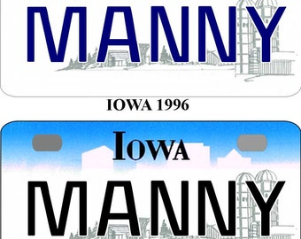 Personalized Iowa 1996, 2011 BICYCLE replica license plate accessory overlaminated