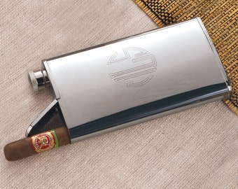 Shiny Stainless Flask and Cigar Holder Combo (e141-1121) - Free Personalization