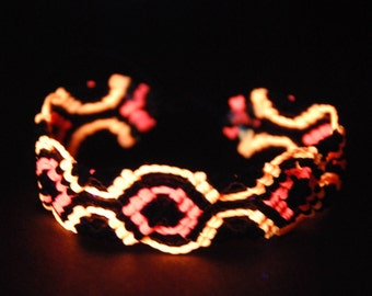 UV Pink Orange Macrame Bracelet Handmade