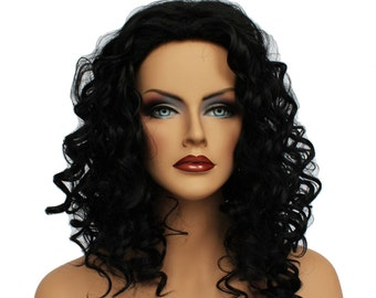 Classic Cap women Synthetic curly wavy Long jet Black wig HengFeng MLW40  SKU: 10C23