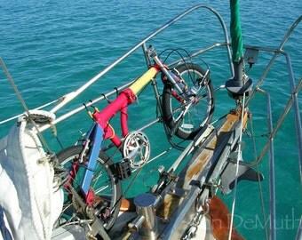 Photography, Bike on Bow, Bahamas, Fine Art Print, Blue, Turquoise, Red, Yellow Home Decor, 5x7, 8x10, 11x14, Wall Art