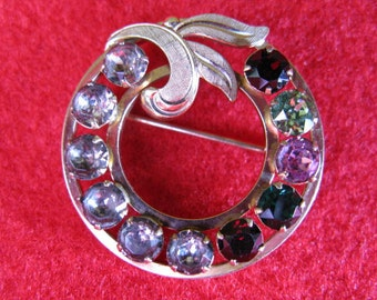 Vintage Wreath Rhinestone Brooch by Van Dell Gold Filled 1960's