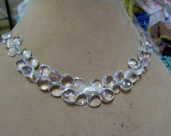 1 Strand  Clear quartz   Faceted Layout   beads  7''  24, grams