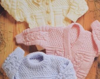 Vintage knitting pattern hooded sweater jacket cardigan aran cable child pdf download pattern only pdf
